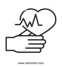 online health, hand and heartbeat care covid 19 pandemic line icon