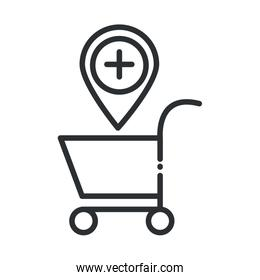online health, cart location medical covid 19 pandemic line icon