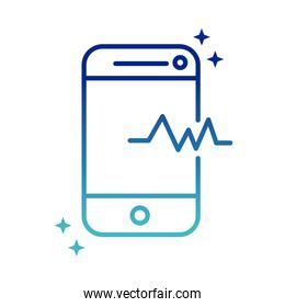 online health, smartphone assistance medical support covid 19 pandemic gradient line icon