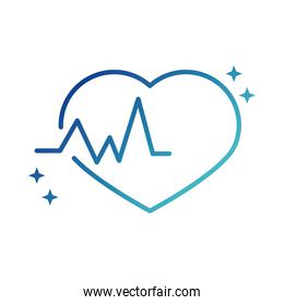 online health, heartbeat medical cardiology covid 19 pandemic gradient line icon