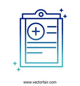 online health, clipboard report medical covid 19 pandemic gradient line icon