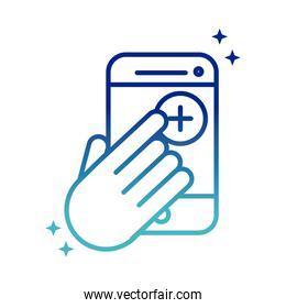 online health, smartphone hand click medical app covid 19 pandemic gradient line icon