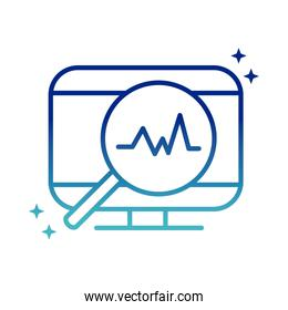 online health, computer magnifier pulse cardiology covid 19 pandemic gradient line icon