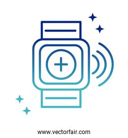 online health, wearable technology activity tracker medical covid 19 pandemic gradient line icon