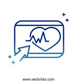 online health, website clicking heartbeat covid 19 pandemic gradient line icon