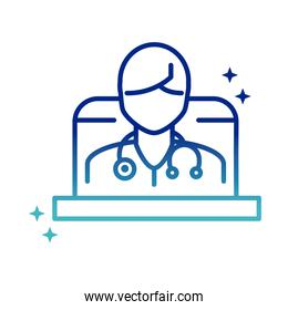 online health, doctor with stethoscope in laptop consultation covid 19 pandemic gradient line icon