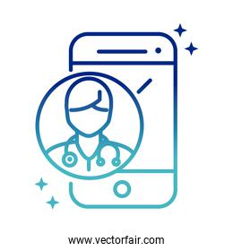 online health, smartphone doctor consult app covid 19 pandemic gradient line icon