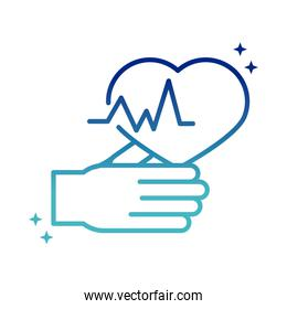 online health, hand and heartbeat care covid 19 pandemic gradient line icon