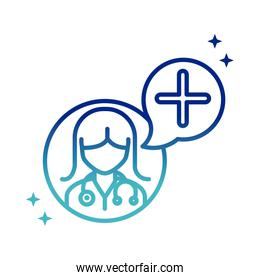 online health, female doctor consultation assistance medical covid 19 pandemic gradient line icon