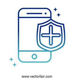 online health, smartphone shield protection medical covid 19 pandemic gradient line icon