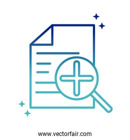 online health, document report analysis covid 19 pandemic gradient line icon