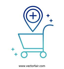 online health, cart location medical covid 19 pandemic gradient line icon