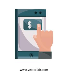 payments online, hand tocuh smartphone pay button flat icon shadow