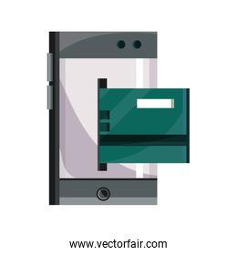 payments online, smartphone bank credit card insert flat icon shadow