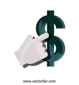 payments online, dollar money clicking flat icon shadow