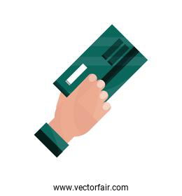 payments online, hand with bank credit card flat icon shadow