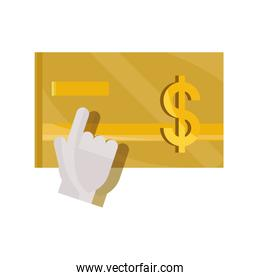 payments online, bank credit card hand clicking flat icon shadow