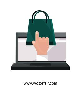payments online, laptop shopping bag clicking flat icon shadow