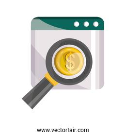 payments online, website money coin magnifier flat icon shadow