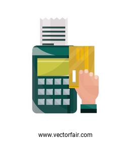 payments online, terminal and bill credit card clicking technology flat icon shadow