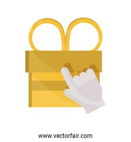 payments online, clicking gift box surprise flat icon shadow