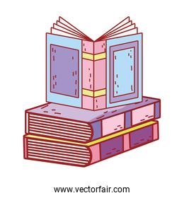 book day, open textbook on books stack isolated icon design