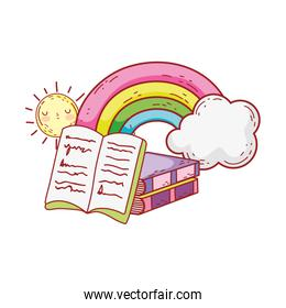 open book stacked books rainbow clouds sun cartoon