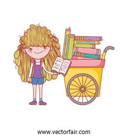 cute girl reading book and cart with many books