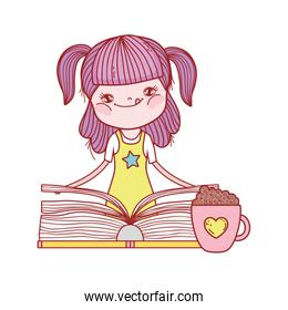 little girl holding book and chocolate cup isolated design