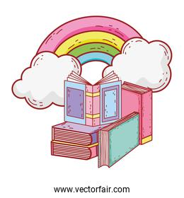 open book in stacked books rainbow sun cartoon