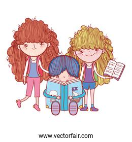 little girls and boy with books cartoon isolated design