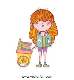 cute girl reading book of pirates and cart with many books