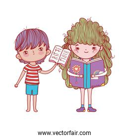 boy with open book and girl reading fantasy book isolated design