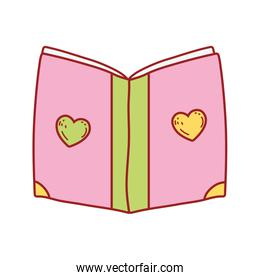 book day, cover with hearts textbook isolated icon design
