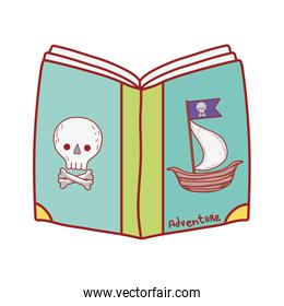 book day, pirates fantasy textbook isolated icon design