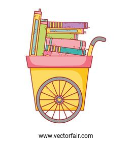 book day, handcart with many books literature isolated icon
