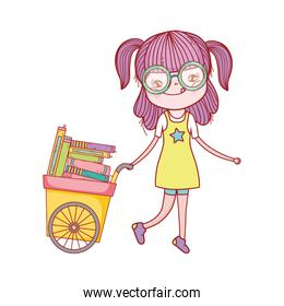 cute girl and cart with many books isolated icon