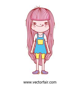 cute little girl standing cartoon character isolated icon design