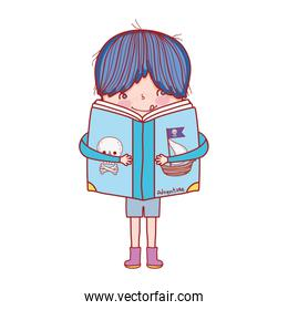 book day, little boy hug open textbook isolated design