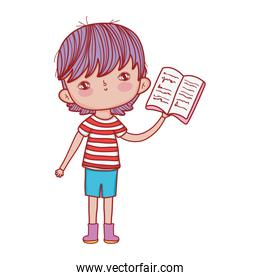 book day, little boy reading textbook isolated design