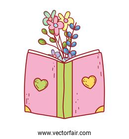 book day, cover with hearts textbook flowers foliage isolated icon design