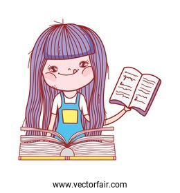 little girl reading book literature cartoon