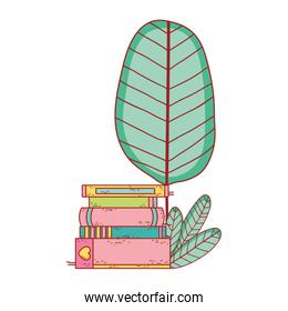 book day, books tree foliage isolated icon