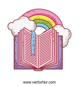 book day, open textbook bookmark rainbow fantasy isolated icon