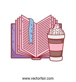 chocolate cup with sprinkles and open textbook literature