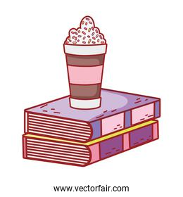 chocolate cup with sprinkles and textbooks literature
