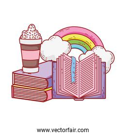 frappe open book stacked books rainbow clouds cartoon