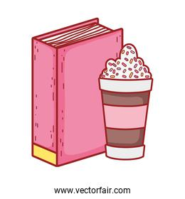 book and smoothie cup read isolated icon