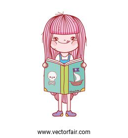 girl reading book pirate adveture cartoon isolated design