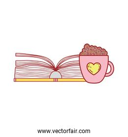 open book with smoothie chocolate cup cartoon isolated design